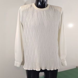 Yves St. Clair Ivory Pearl Collar Blouse